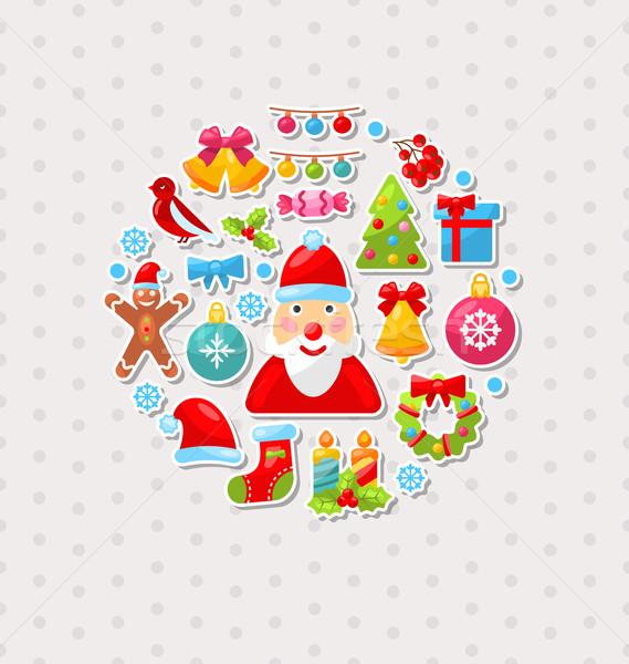 Foto d'archivio: Capodanno · tradizionale · colorato · elementi · illustrazione · felice
