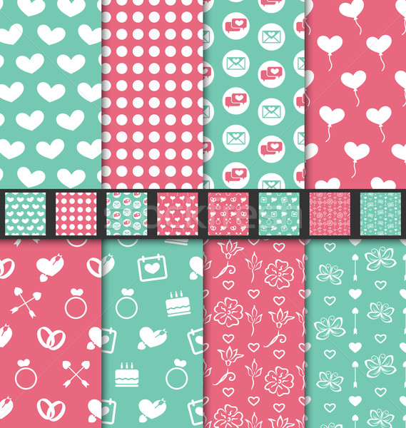 Collection of love and romantic seamless patterns Stock photo © smeagorl