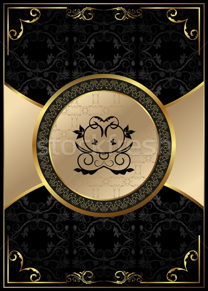 ornate background with golden luxury framed label Stock photo © smeagorl