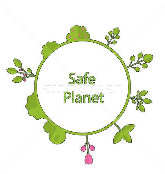 Cadre forme cercle vert terre usine Photo stock © smeagorl