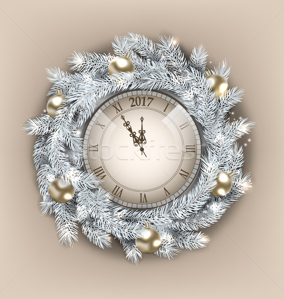 Christmas Wreath with Clock and Golden Balls for Happy New Year 2017 Stock photo © smeagorl