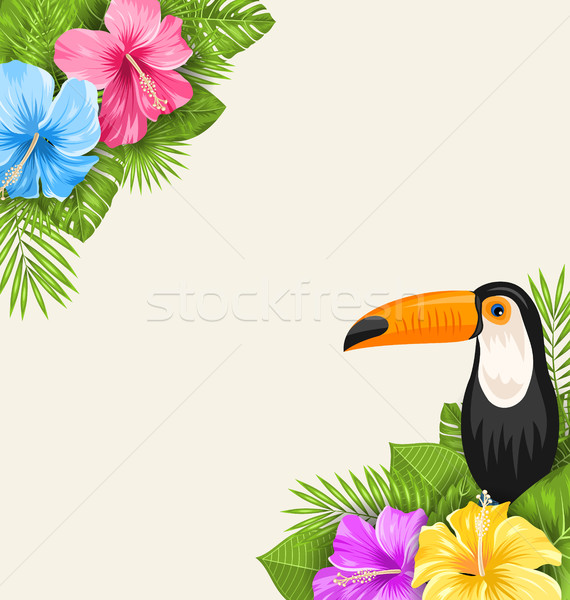 Nature Tropical Background with Toucan, Hibiscus Flowers and Palm Leaves Stock photo © smeagorl