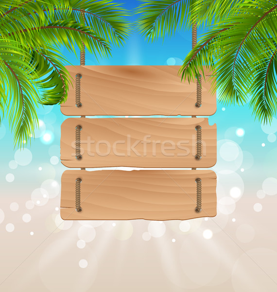 Wooden Board for Your Message, Summer Background Stock photo © smeagorl