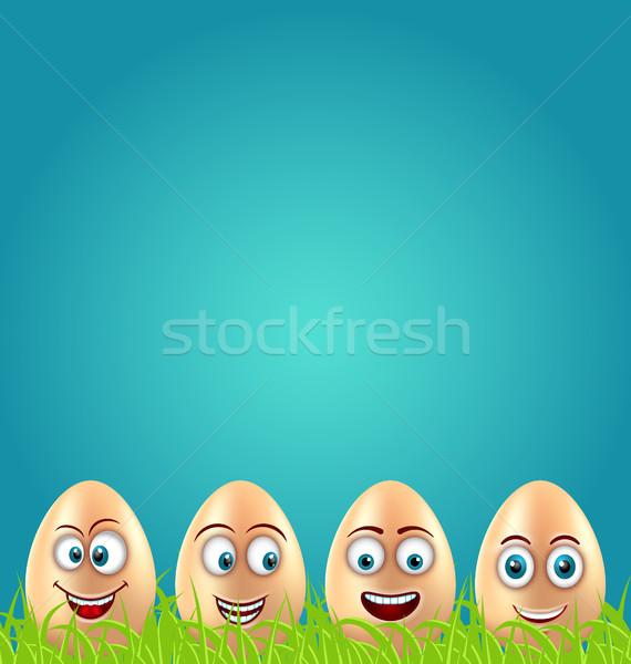 Humor húsvét kártya őrült tojások fű Stock fotó © smeagorl