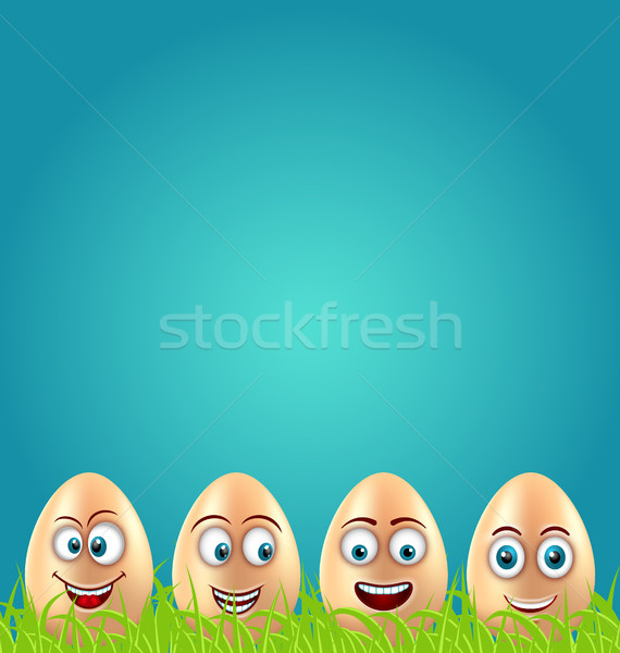 Humor Ostern Karte crazy Eier Gras Stock foto © smeagorl