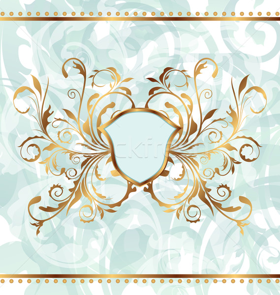Royal background with golden ornate frame and heraldic shield Stock photo © smeagorl