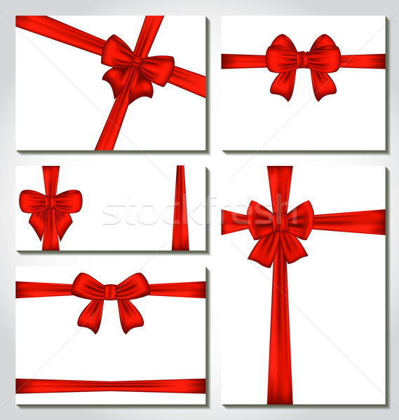 Set of red gift bows for design packing Stock photo © smeagorl