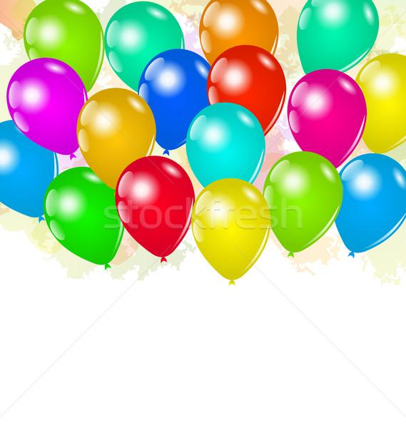 Ingesteld kleurrijk ballonnen vakantie illustratie gelukkig Stockfoto © smeagorl