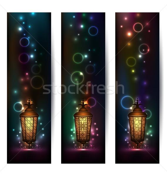 Set light banners with arabic lantern Stock photo © smeagorl