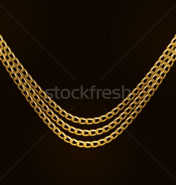 Stok fotoğraf: Güzel · altın · zincirleri · yalıtılmış · siyah · örnek