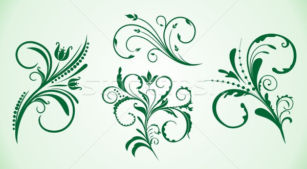 Curled flowers ornament collection Stock photo © smeagorl