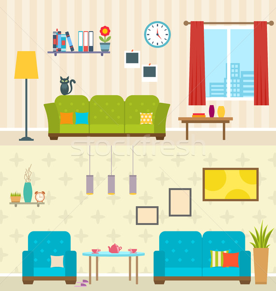 Set of Interiors of Living Rooms. Decoration of Modern Apartments Stock photo © smeagorl