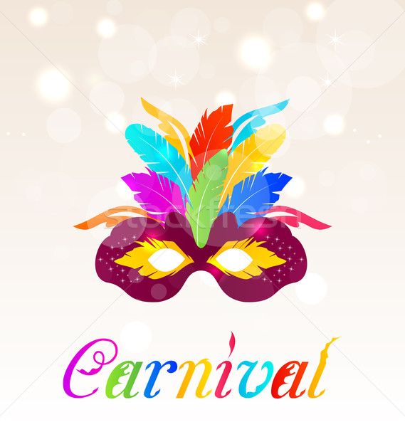 Colorful carnival mask with feathers with text  Stock photo © smeagorl