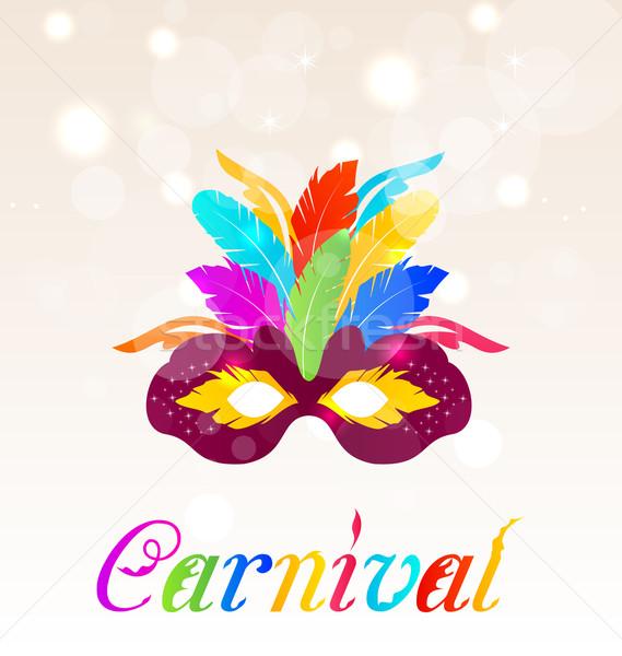 Colorido carnaval máscara texto ilustração Foto stock © smeagorl