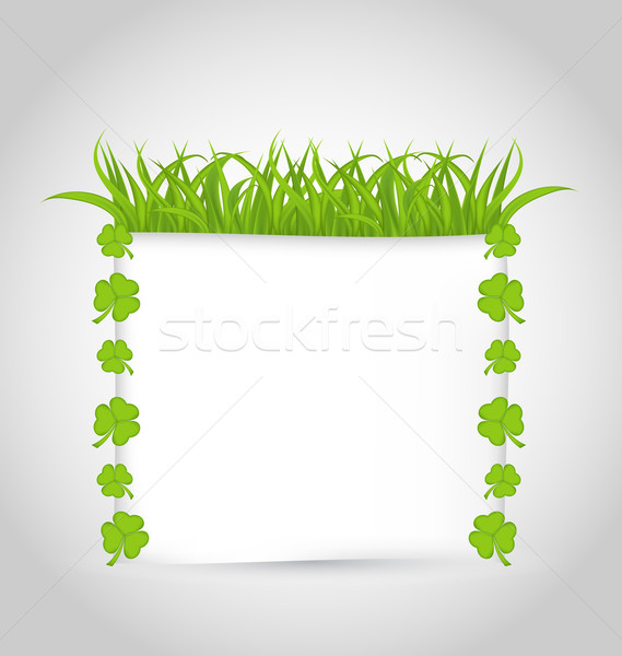 Nature invitation with grass and shamrocks for St. Patrick's Day Stock photo © smeagorl