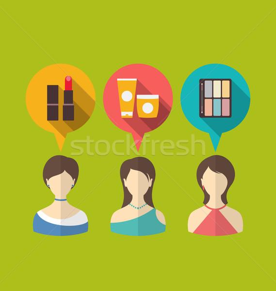 Stockfoto: Iconen · drie · vrouw · toespraak · dacht · bubbels