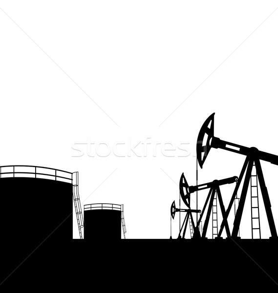 Oil pump jack for petroleum and reserve tanks, isolated on white Stock photo © smeagorl