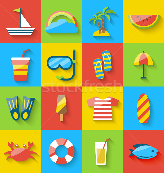 Flat icons of holiday journey, summer symbols, sea leisure, colo Stock photo © smeagorl