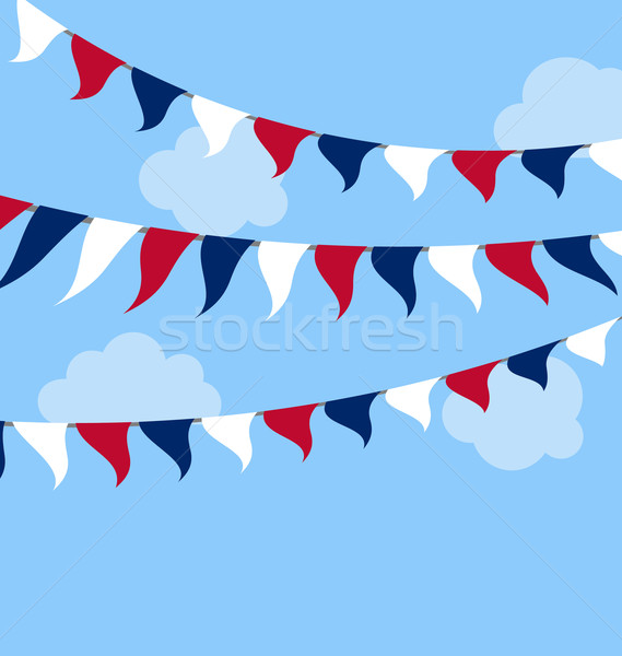 Flags USA Set Bunting Red White Blue for Celebration Stock photo © smeagorl
