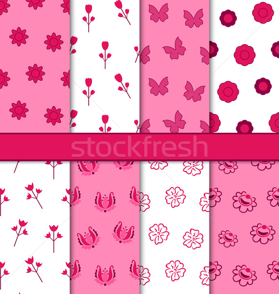 Set of 8 Seamless Abstract Floral Romantic Pattern  Stock photo © smeagorl