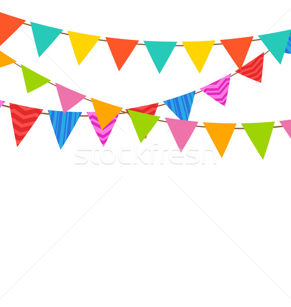 Set Bunting Pennants with Ornamental Texture Stock photo © smeagorl