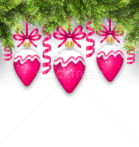 Fir Branches and Christmas Pink Balls Stock photo © smeagorl
