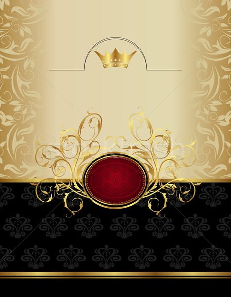luxury gold label with emblem Stock photo © smeagorl