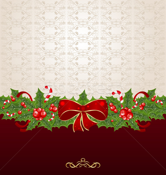 Beautiful Christmas background with mistletoe, bow and pine Stock photo © smeagorl