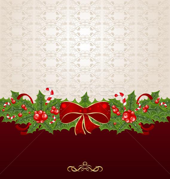 Belo natal visco arco pinho ilustração Foto stock © smeagorl