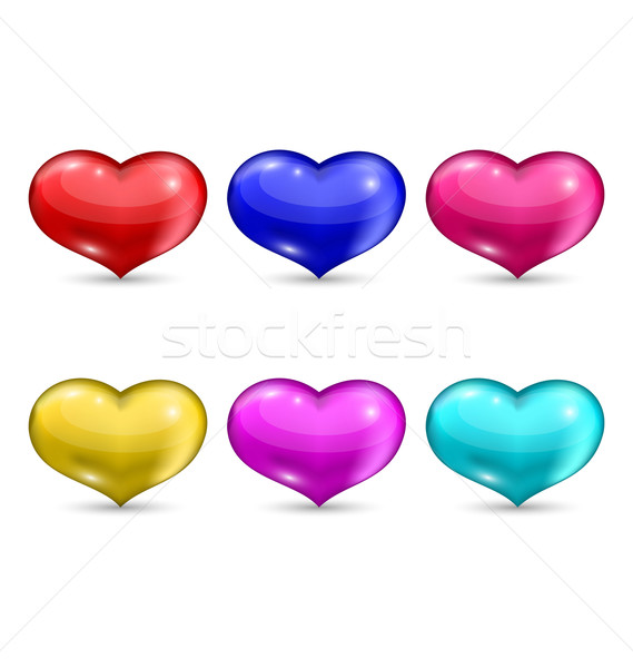 Stock photo: Set colorful hearts isolated on white background