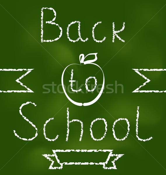Terug naar school tekst illustratie school appel groene Stockfoto © smeagorl