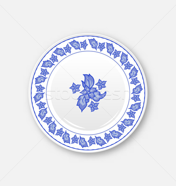 White plate with hand drawn floral ornament bezel Stock photo © smeagorl