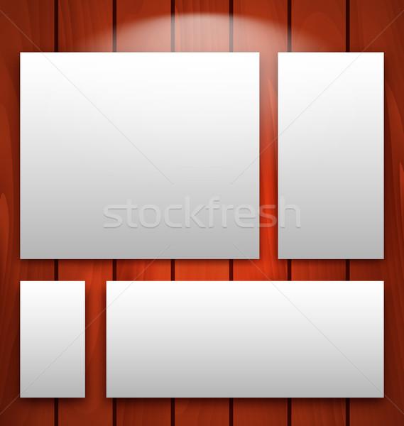 Galéria belső üres keret fából készült fal Stock fotó © smeagorl