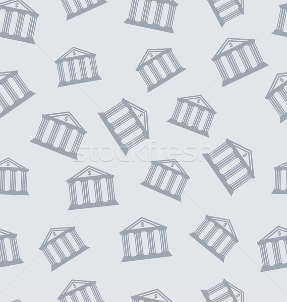 Seamless Pattern with Building of Bank Stock photo © smeagorl