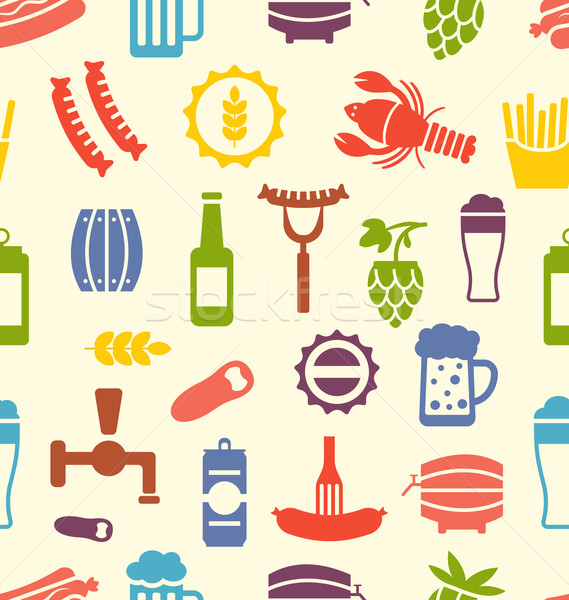 Seamless Texture with Icons of Beers and Snacks Stock photo © smeagorl