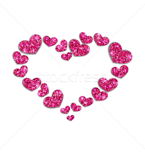 Celebration Frame Made in Gleam Hearts for Valentines Day Stock photo © smeagorl
