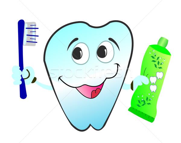 Stock foto: Illustration · glücklich · lächelnd · Zahn · isoliert · weiß