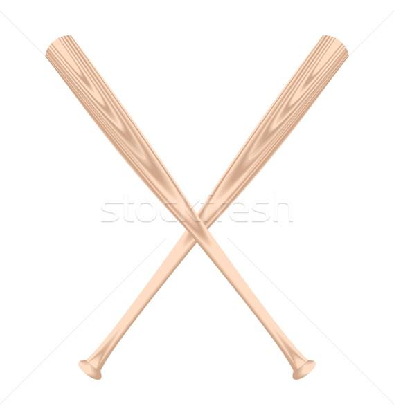 Realistisch illustratie twee honkbalknuppel ontwerp teken Stockfoto © smeagorl
