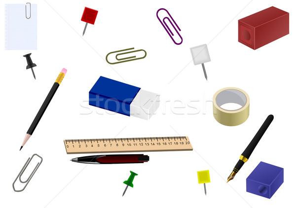 Zestaw biuro towary realistyczny ilustracja wektora Zdjęcia stock © smeagorl