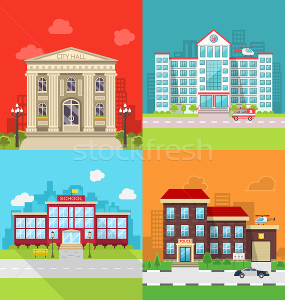Szett helyhatósági épületek város előcsarnok kórház Stock fotó © smeagorl