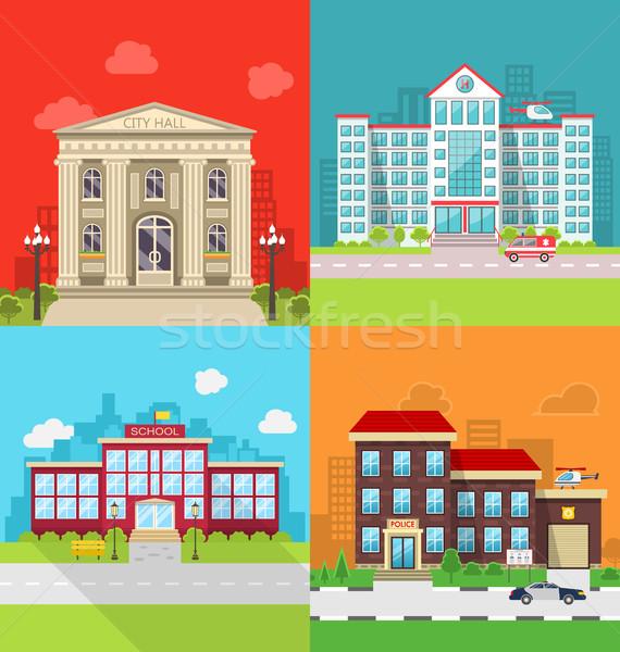 Set Municipal Buildings - City Hall, Hospital, School and Police Station. Stock photo © smeagorl