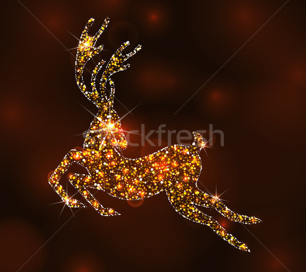 Christmas Light Deer for Happy New Year, Running Stag - Illustration Vector Stock photo © smeagorl