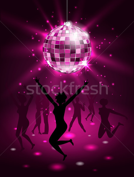 Silhouette People Dancing in Night-club, Disco Ball, Glitter Party Background Stock photo © smeagorl