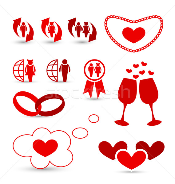 Valentine's Day infographics and wedding design elements Stock photo © smeagorl