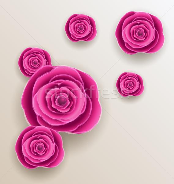 Cutout flowers - beautiful roses, paper craft  Stock photo © smeagorl