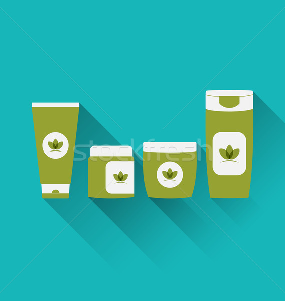 Flat icons of cosmetics containers with long shadow Stock photo © smeagorl
