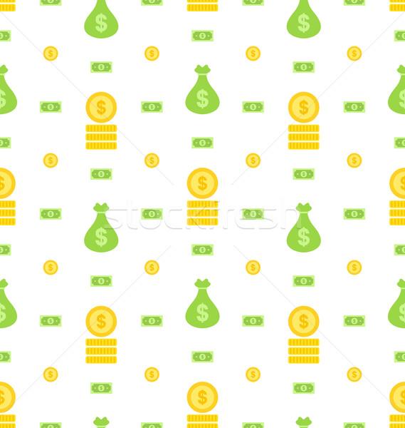 Végtelen minta pénz táska bank jegyzetek érmék Stock fotó © smeagorl