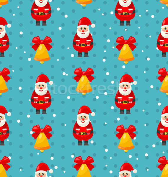 Merry Christmas seamless pattern with Santa and jingle bell Stock photo © smeagorl