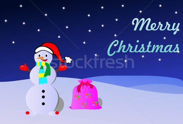Hógolyó keret jég kék karácsony hátterek Stock fotó © smeagorl