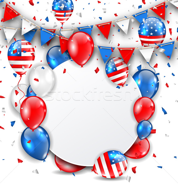 Celebration Card for American Holidays, Colorful Bunting, Balloons and Confetti Stock photo © smeagorl